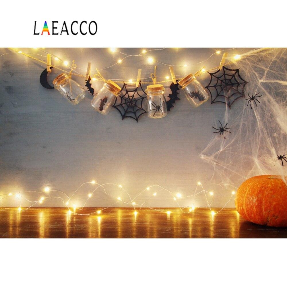 Laeacco Halloween fondos fotografía calabaza bombilla araña botella de red niño retrato fondos estudio fotográfico Photocall