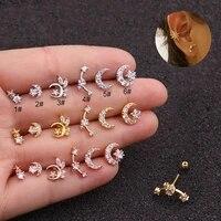 tragus cartilage helix bar crescent moon star ear stud piercing jewellery