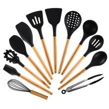 실리콘 주방 도구 요리 세트 수프 스푼 주걱 나무 손잡이와 비 스틱 삽 특수 내열성 디자인