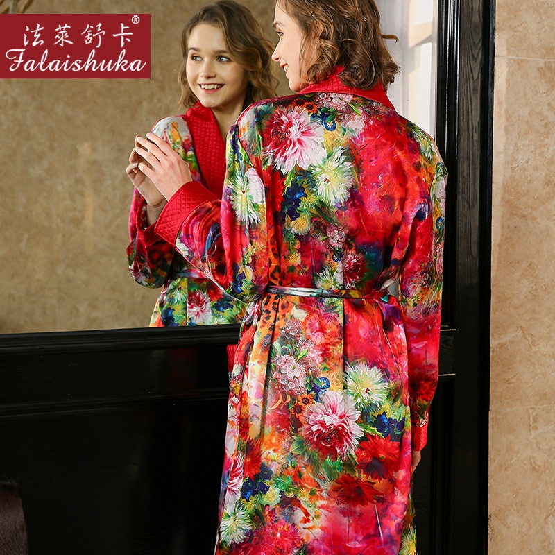 Elegant red winter 100% genuine silk women robes nightgowns sexy plaid Thicken mulberry silk robes women Dressing gown S5653