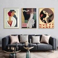 Peinture murale Vintage a la mode  toile abstraite de femme imprimee  couverture murale  images de chambre de fille  decoration de maison