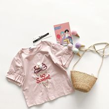 Tonytaobaby Summer New Female Baby Cartoon 5-sleeve Pink Sweet Tube Girls Short Sleeve T-shirt Girls Tops