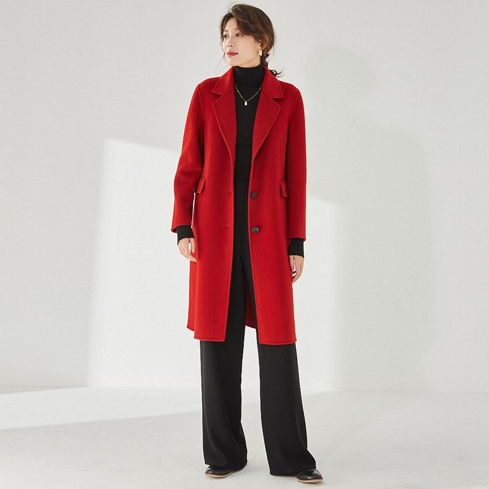 معطف شتوي طويل مستقيم 100% من الصوف مزدوج Max Ma * a معطف نسائي أسود دافئ أصفر مفرد الصدر معطف من الصوف