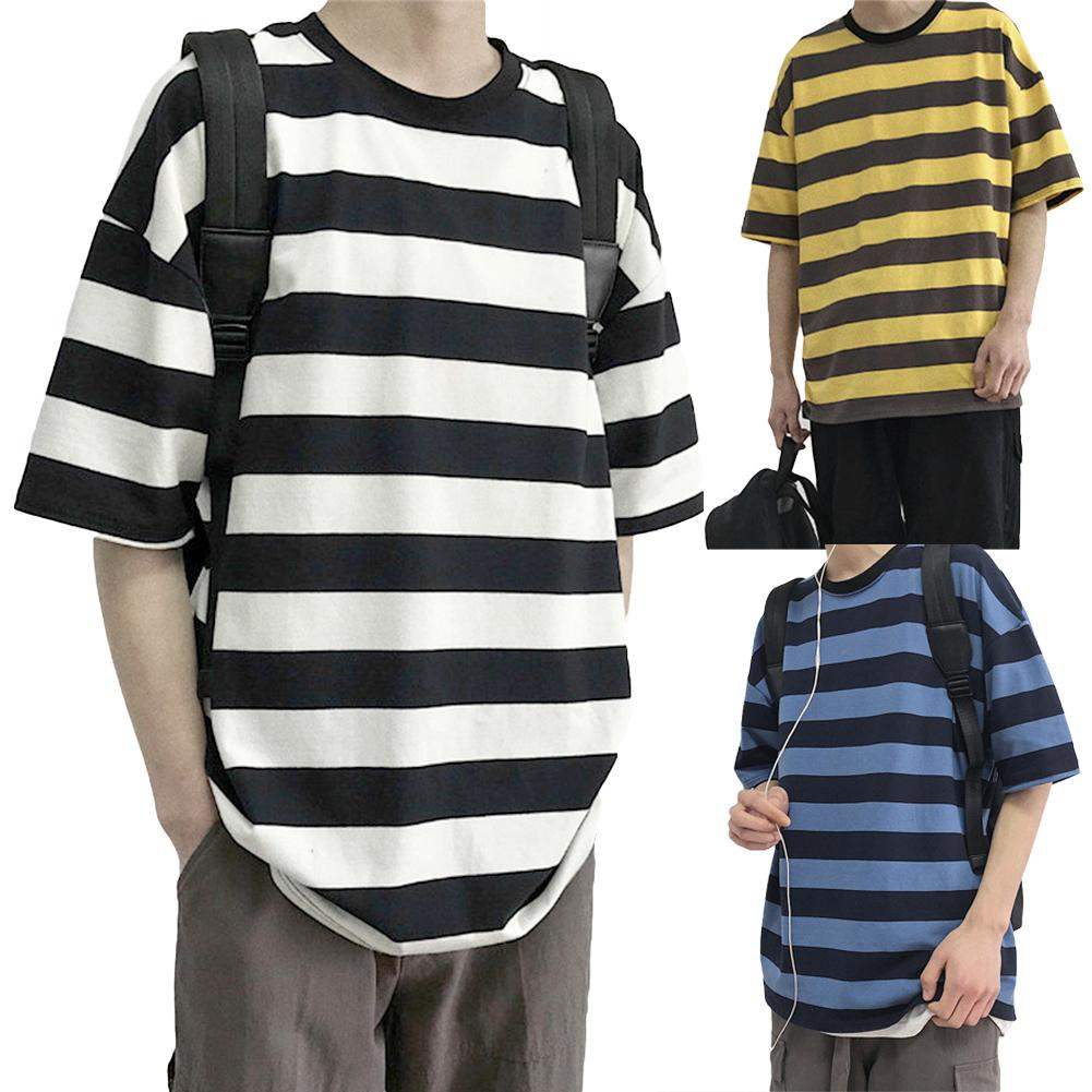 Men Streetwear Striped Tshirt 2020 Summer Mens Funny Hip Hop Loose T Shirt Male Vintage Fashion Tees Casual Yellow Tops