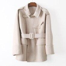 사파리 스타일 모직 숙녀 코트 Abrigos Mujer Elegante 코트와 재킷 여성 벨트 Spliced 여성 겨울 코트 가을