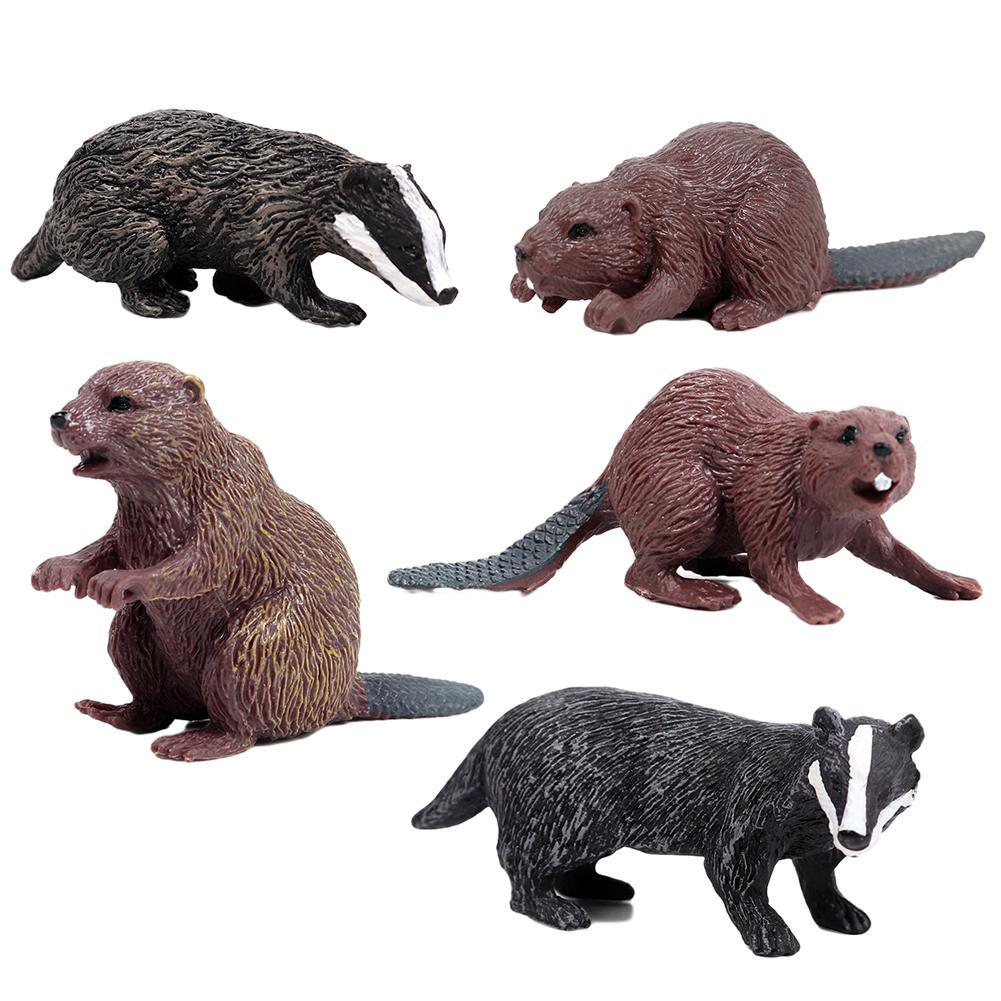 1 unidad de simulación de Bosque Modelo de animal salvaje tejón Lobezno Oso de Beaver Oso de acción figura de juguete de PVC figurita de regalo para niños