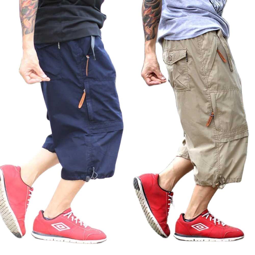 Модные мужские брюки Карго короткие штаны с эластичной резинкой на талии, прямые свободные мешковатые шорты в уличном стиле размера плюс ...