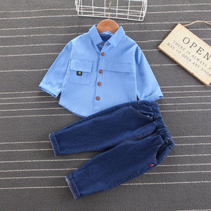 Spring Autumn Solid Kid Clothing Sets Boy Sets Casual Toddler Girl Clothes Clothing for Boys Shirt+Pant  Children Clothing 1-5 Y