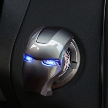 Iron Man Car Interior Engine Ignition Start Stop Push Button Switch Button Cover Trim Sticker 3D Car