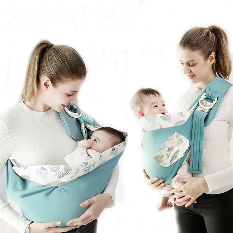 Baby Wrap Newborn Sling Dual Use Infant Nursing Cover Carrier Mesh Fabric Breastfeeding Carriers Up To 130 Lbs (0-36M)