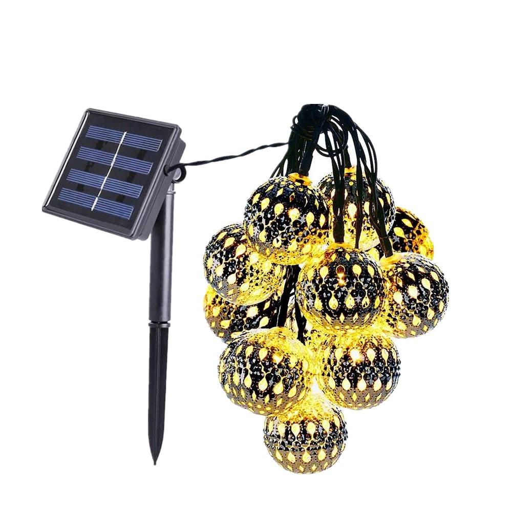 2 режима 5 м 20 светодиодов Солнечный полый шар для украшения двора, рождественские нити, праздничное освещение