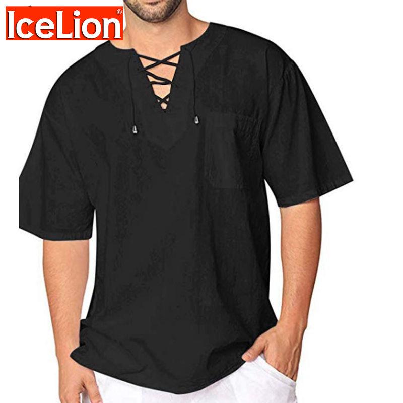 Islandais 2021 été t-shirt hommes nouvelle maille couture hommes t-shirts manches courtes solide laçage collart-chemises Camisas Para Hombre