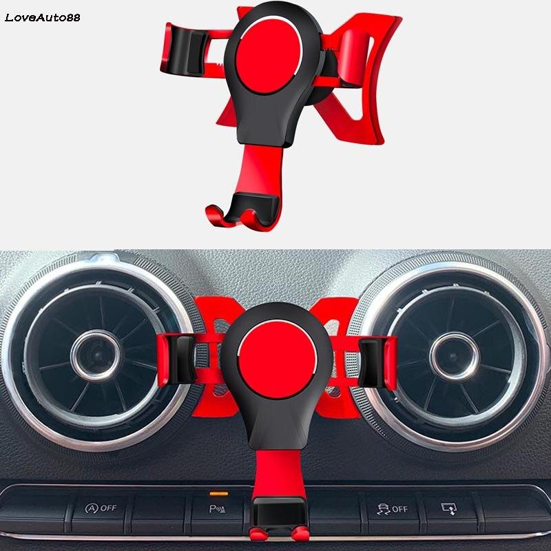 Car Air Vent Car Mount Holder Mobile Phone GPS Vent Bracket Interior Decoration For Audi S3 A3 2014-2019