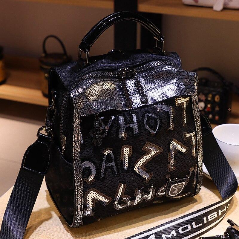 Black Letter Prints Sequines Backpack for Women School Bags Shoulder Luxury Travel Mini Mochila Femenina Brand Sac A Dos
