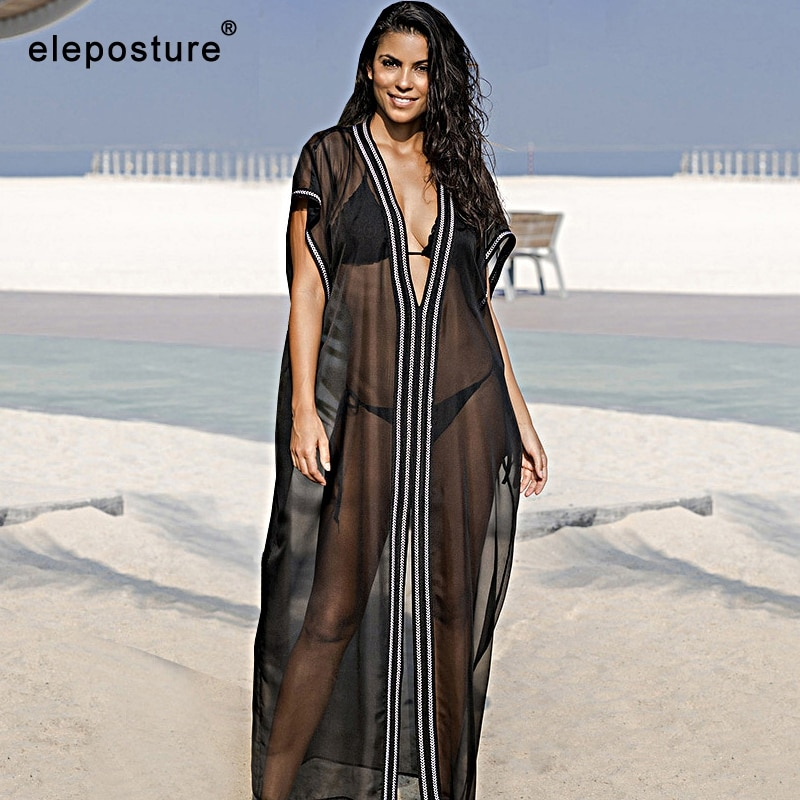 2020 Sexy playa bordada cubrir Up Chiffon Beach Dress Long Tunics Bikini traje de baño mujeres cubrir túnicas sueltas blusa protectora solar