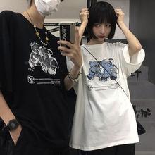 Couple's T-shirt 2021 New Harajuku Style T-shirt Women's Short Sleeve Oversized Printed Top Korean L