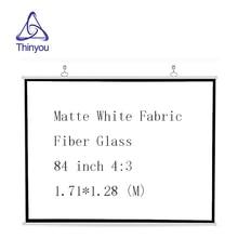 Thinyou 84 pouces 43 écran de projecteur mat blanc tissu Fiber de verre retrousser mural pour réunion daffaires Home Cinema
