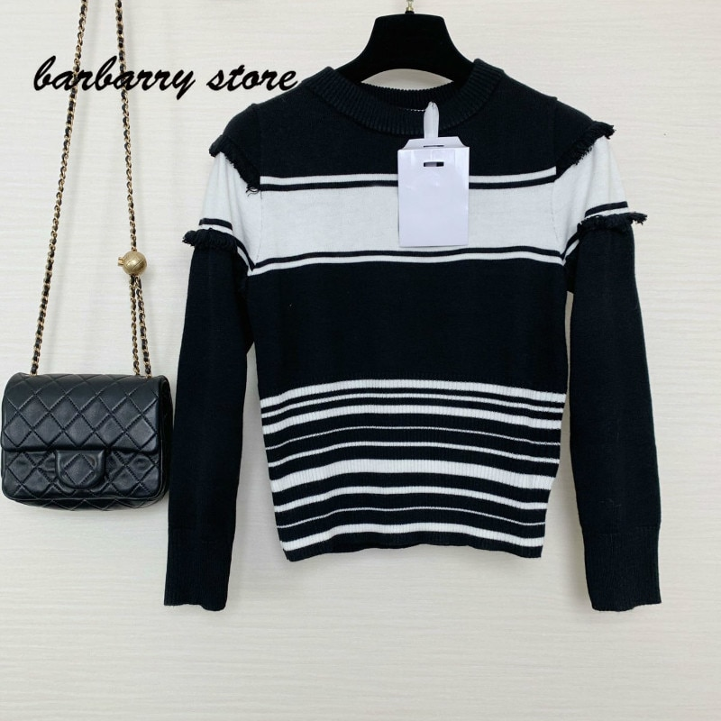 21 luxury design high-end letter jacquard fashion women's long sleeve Pullover temperament general loose casual cashmere sweater