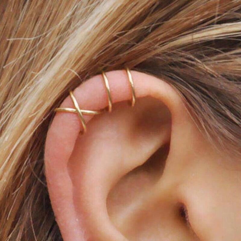 2020 New Fashion 5Pcs/Set Gold Leaf Ear Cuff Clip Earrings for Women Climbers No Piercing Fake Cartilage Earring 5g