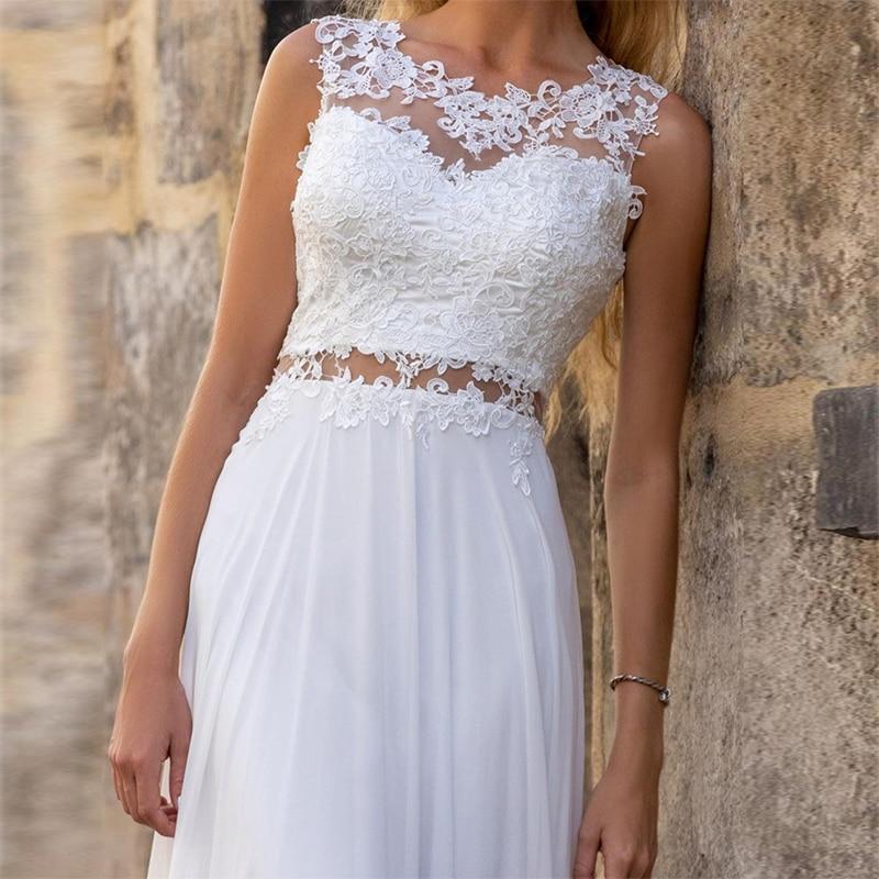 MoonlightShadow Elegant Wedding Dresses A-Line O-Neck Sleeveless Chiffon Lace See Through Beach Bridal Gowns Свадебное платье