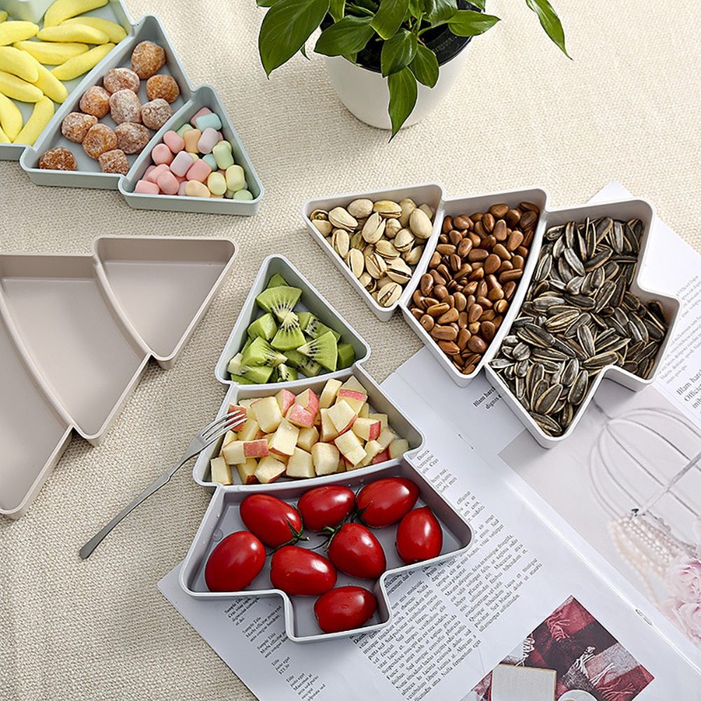 Navidad creativo forma del árbol caramelo aperitivos semillas de nueces frutas secas de placas de plástico platos tazón bandeja de desayuno casa utensilios de cocina