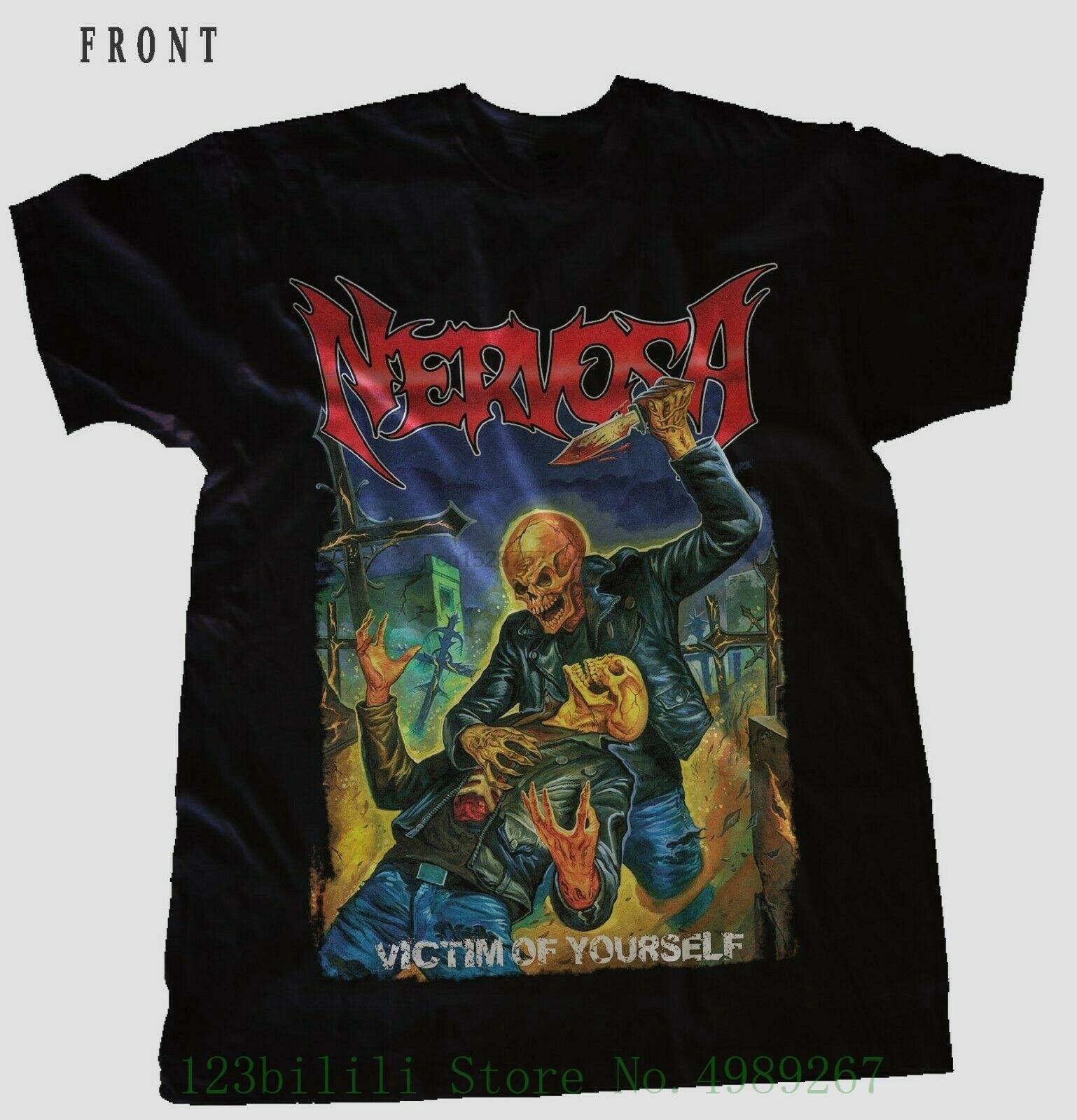 Nervosa-vítima de si mesmo-thrash metal bnad preto t _ camisa tamanhos S-3Xl masculino topos legal o pescoço camiseta