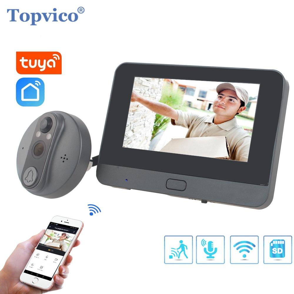 Topvico تويا عارض ثقب الباب كاميرا واي فاي الجرس فيديو إنترفون 4.3