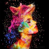 diy diamond painting girl fox fantasy mosaic full diamond embroidery portrait picture decoration for home wall stickers