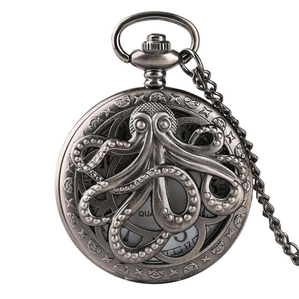 Oco meio octopus vintage relógio de bolso de quartzo retro cinza colar pingente relógio para homem reloj