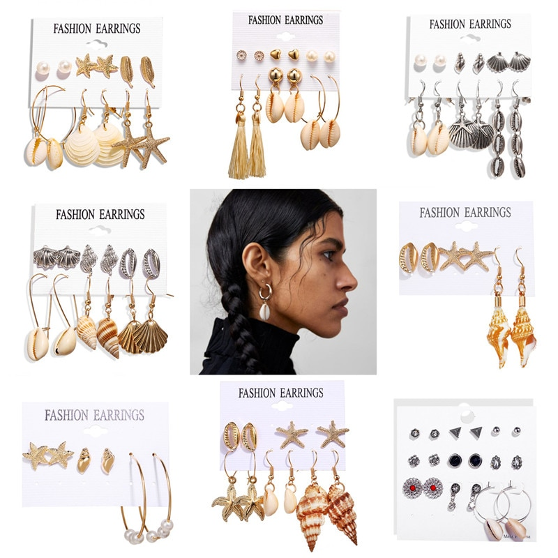 Boho concha de mar gota juego de pendientes para mujeres Vintage Playa Mar Shell larga borla EarringsGirl indio Brincos de joyería 2019