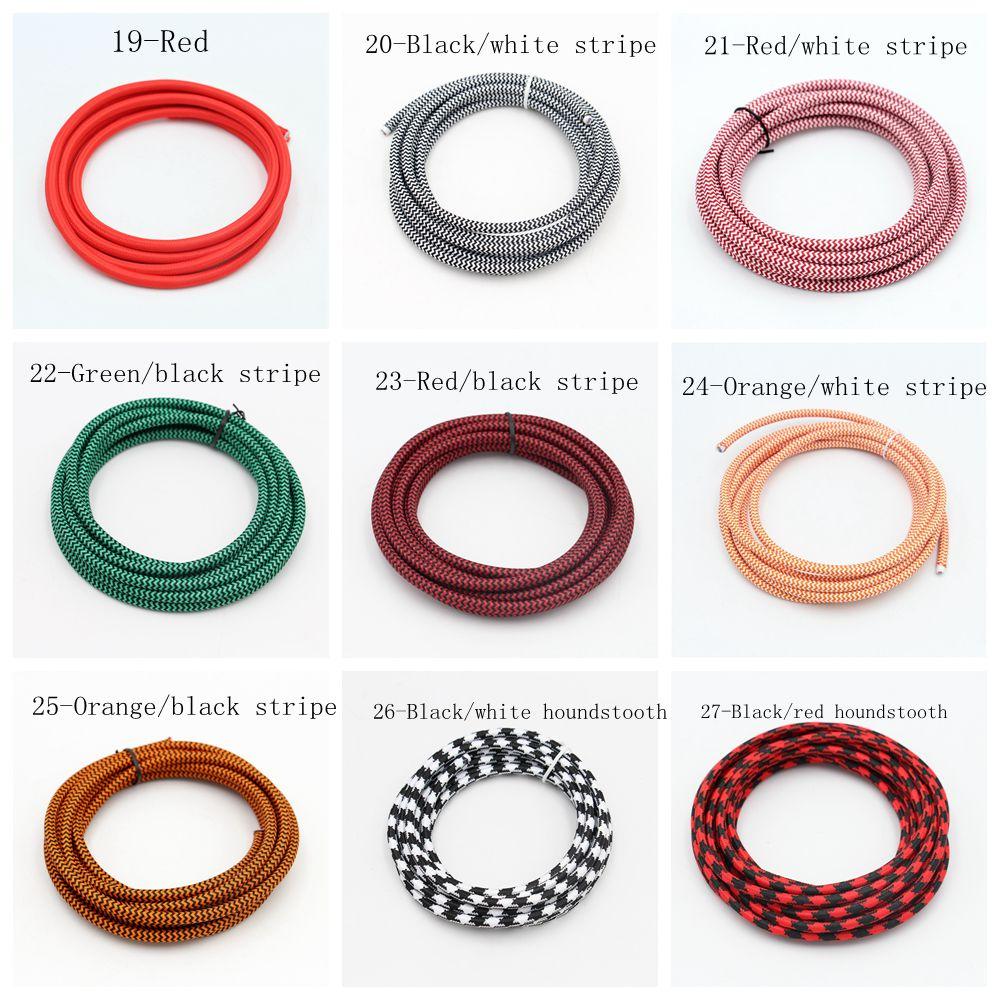 2m, 3m, 5m, 10m, largo, 2 núcleos, 0,75 mm2, tela de Cable trenzado cubierta textil, cables de luz Vintage