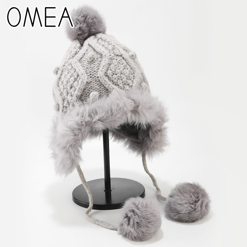 OMEA mujeres sombrero invierno encantador conejo angora sombrero con Pom exterior bombardero gorro ushanka espesar tejido ruso sombrero oreja solapa