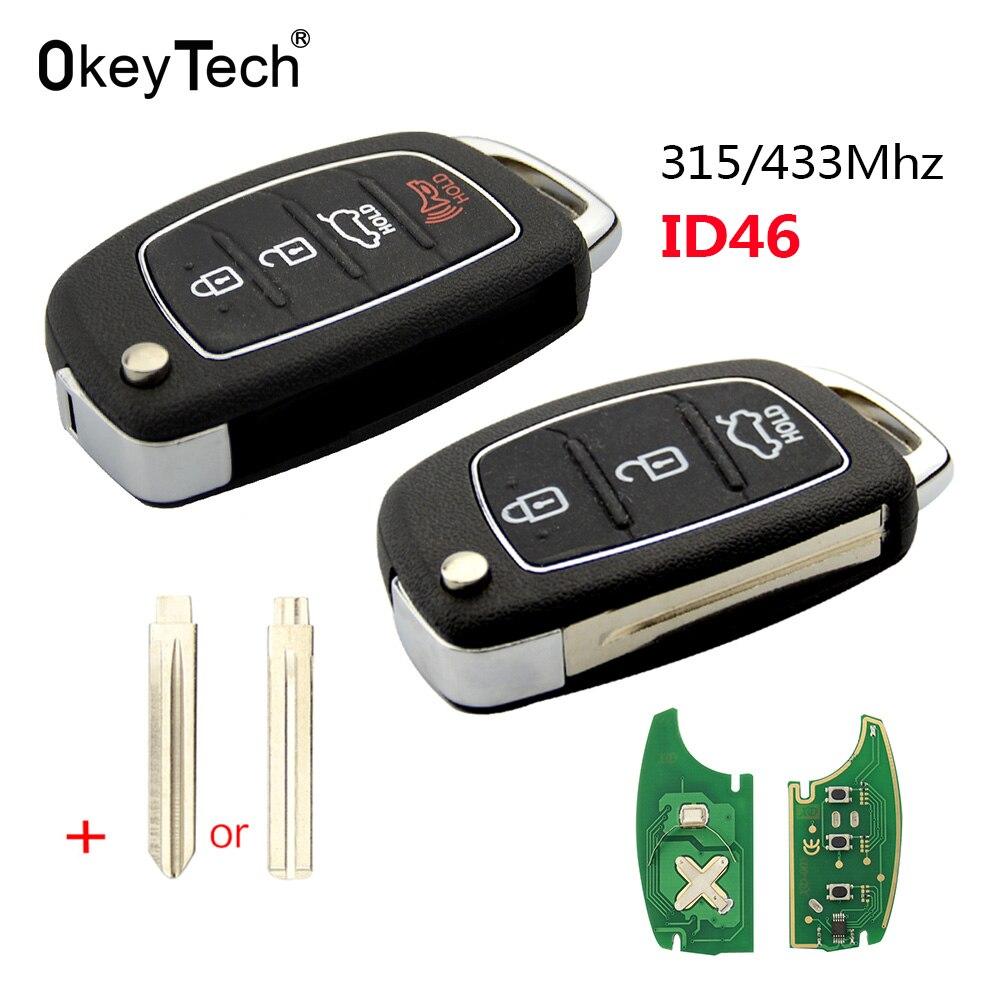 Okeytech 3/4 botão 315/433mhz flip dobrável remoto chave do carro para mistra hyundai hb20 santa fe i20 ix35 ix45 transponder chip id46