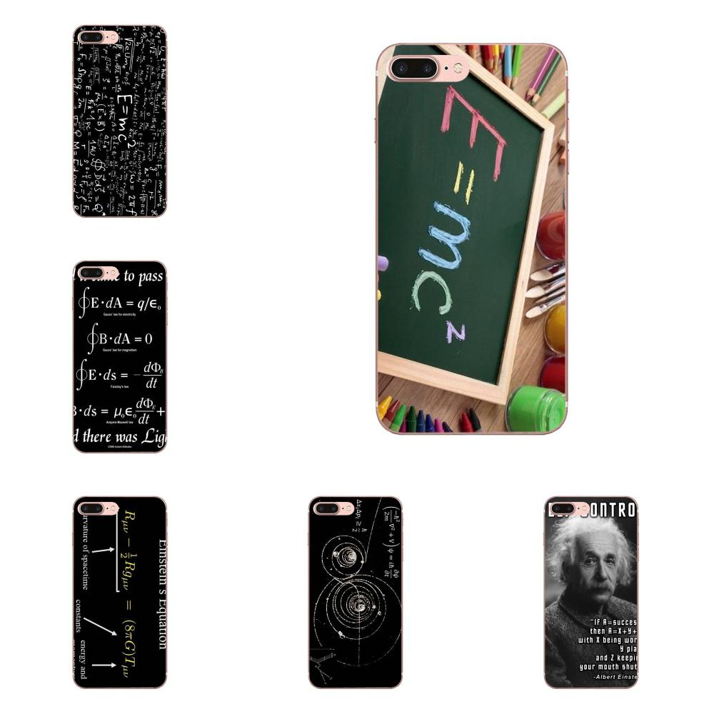 Para Samsung Galaxy A10 A20 A20E A3 A40 A5 A50 A7 J1 J3 J4 J5 J6 J7 2016, 2017 de 2018 de goma suave de la caja del teléfono físico ecuaciones E = mc2