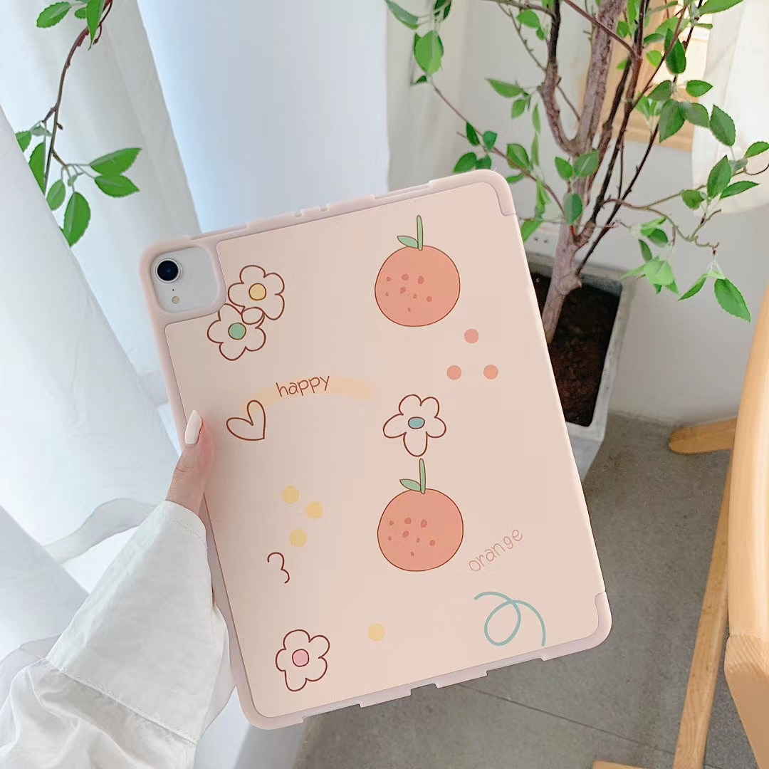 Cute Orange For iPad AIR 2 3 10.5 Pro 2019 7th 10.2 inch Case for iPad 2017 2018 9.7 Mini 5 Cover Capa With Pencil Holder Cases enlarge