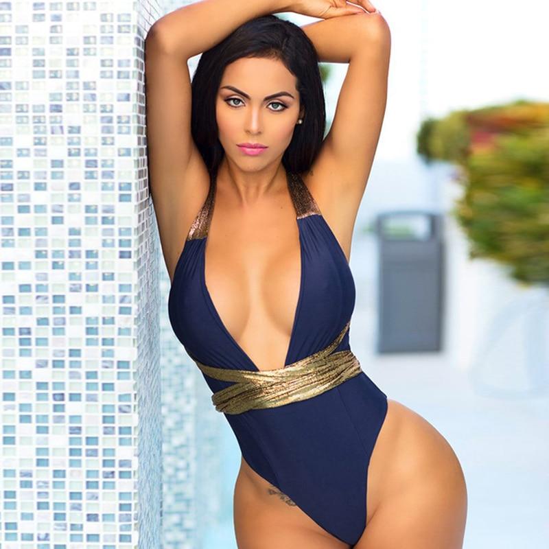 2020 Sexy Flash Bandage One Piece Swimsuit Women Deep V Swimwear Bodysuit Monokini Backless Bathing Suit Beachwear Swimming Suit