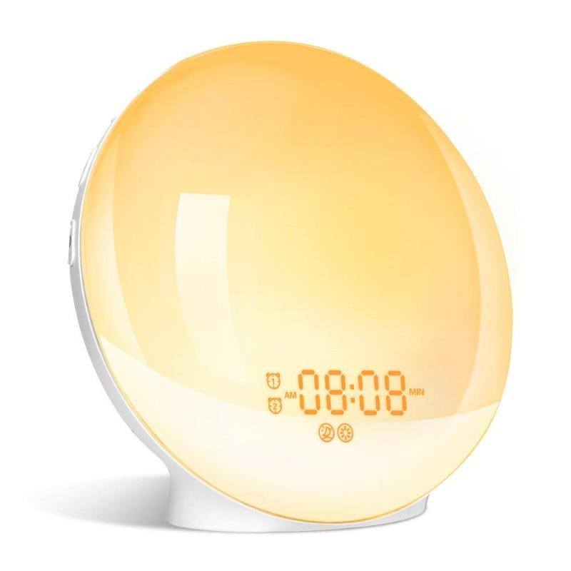 Alarm Clock Wake Up Light Smart Digital Snooze Nature Night Lamp Sunrise Colorful Light Nature Sound FM Radio Bedroom Decoration enlarge