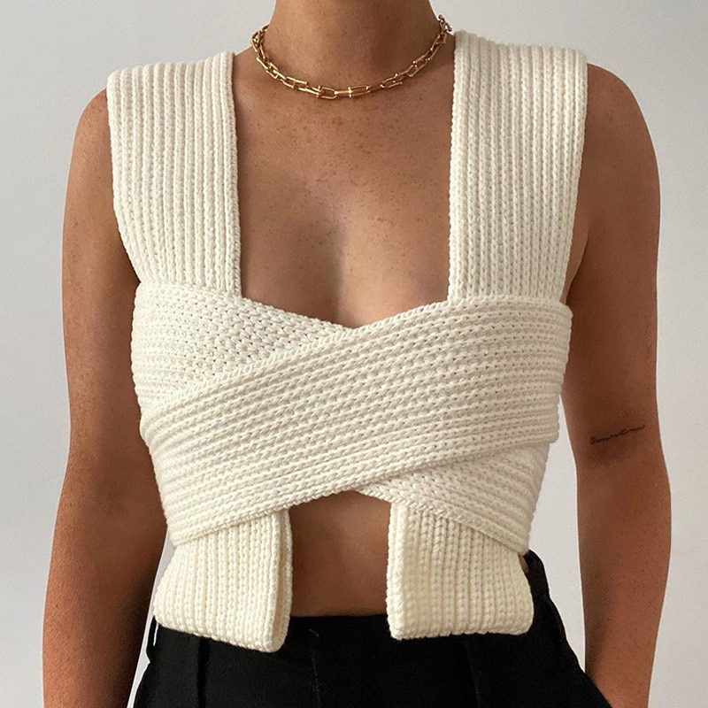 Fashion Knit Vest Top Women Criss-Cross Summer Sexy DIY Style Knit Tops Ladies Solid Knitted Wrap Crop Tops недорого