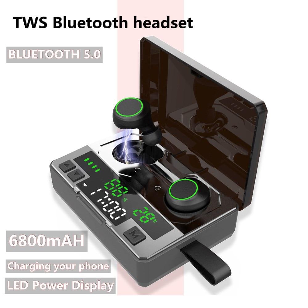 C6 LED Bluetooth 5,0 auriculares inalámbricos TWS Cancelación de ruido deporte Gaming auriculares 6800mAh potencia reloj y orilla temperatura