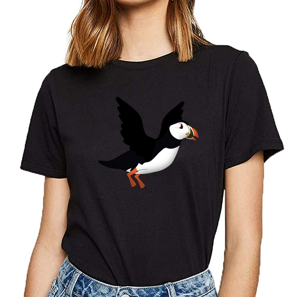 Tops camiseta mujer puffins fly Humor blanco personalizado camiseta femenina