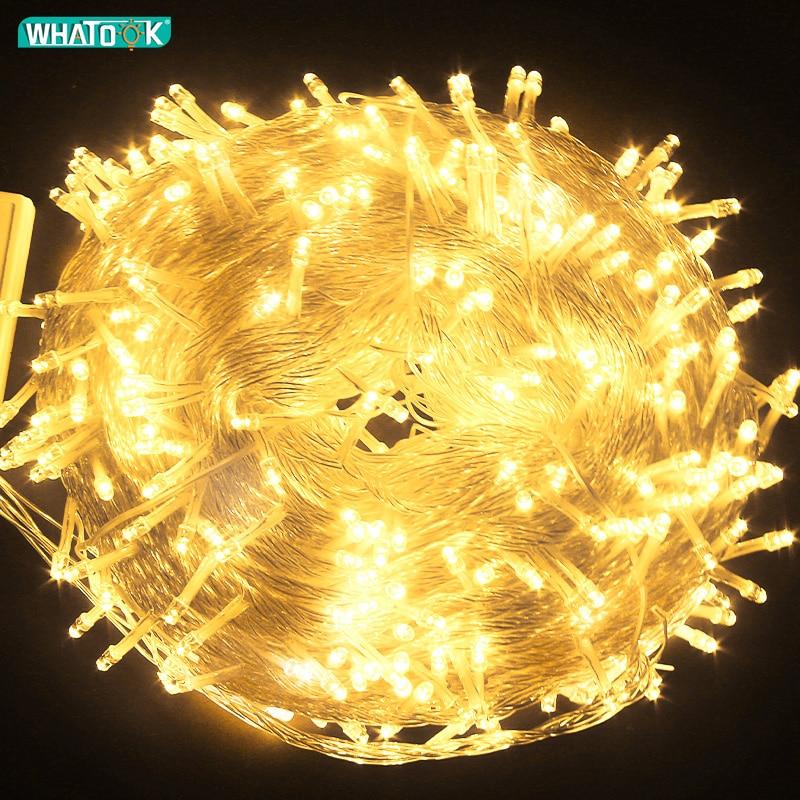 10 متر 20 متر 50 متر 100 متر الجنية ضوء LED سلسلة أضواء جارلاند الزفاف عيد الميلاد مصباح الديكور في الهواء الطلق داخلي الستار البارات المنزل حفلة