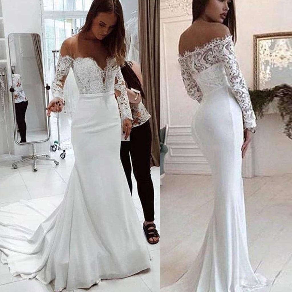 Bonito Sexy estiramiento blanco encaje Maxi vestido sirena piso longitud fiesta vestido acolchado cuello en V vestido sin espalda Color sólido de talla grande # J31