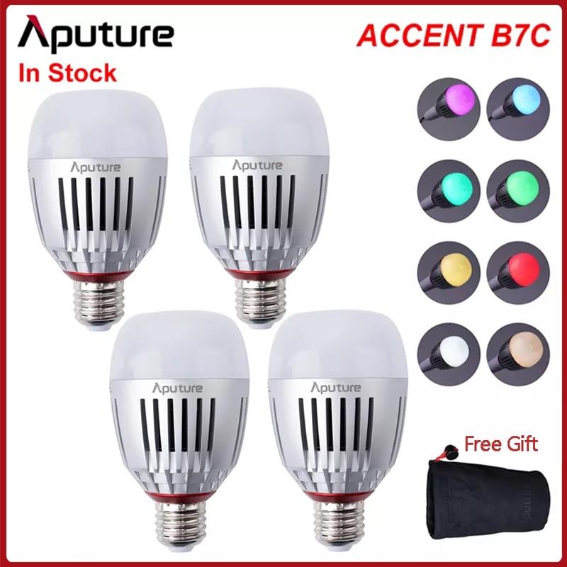 Aputure Accent B7C 7W RGBWW LED Smart Bulb CRI 95+ TLCI 96+ 2000K-10000K Adjustable 0-100% Stepless Dimming App Control /Battery
