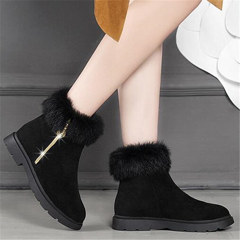 Botas de Neve de Inverno para Mulheres Botas de Sola Botas de Algodão Zapatos de Mujer Novas Grossa Tubo Curto Sapatos Femininos Mais Veludo