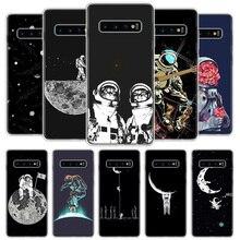 Espace Lune Astronaute Téléphone étui pour samsung Galaxy A50 A70 A10 A20E A51 A71 M30S A30 A40 A01A21 A6 A7 A8 A9 Plus + Coque