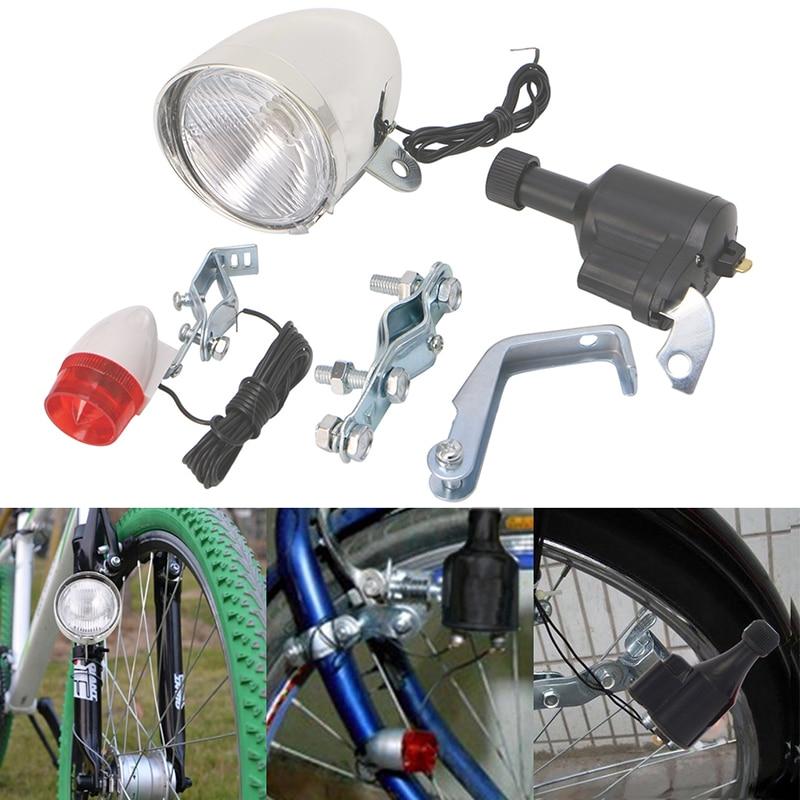 Motorized Bike Bicycle Friction Dynamo Generator Head Tail Light Acessories