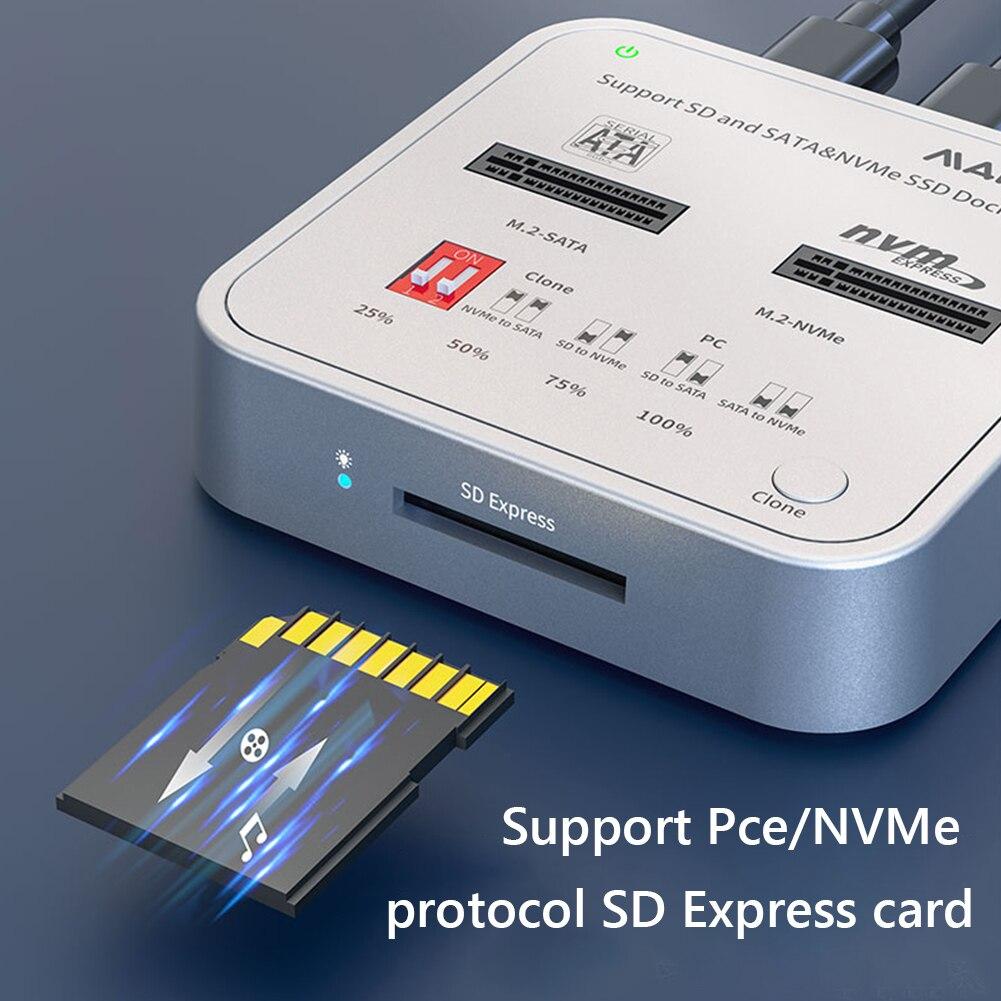 MAIWO K3016CL USB C to NVMe SATA M.2 SSD Secure Digital Express 7.1 7.0 Docking Station Supports Offline Clone Duplicator enlarge