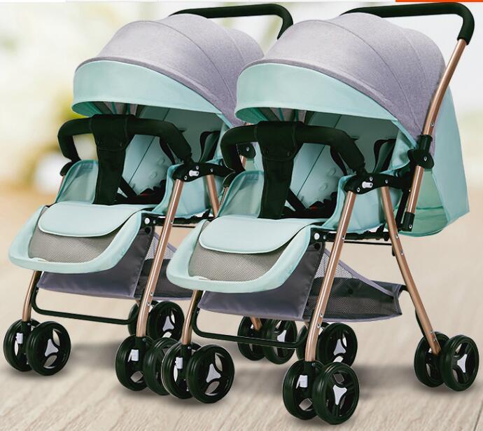 عربة توأم خفيفة الوزن قابلة للطي ، كرسي مقعد ، عربة أطفال مزدوجة للأطفال