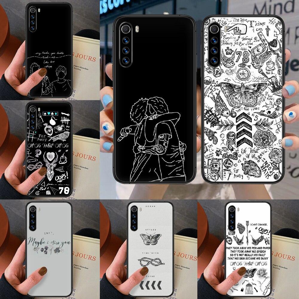 Larry stylinson tatuagens uma direção caixa do telefone para xiaomi redmi nota 7 8t 9s 4x 7 7a 9a k30 pro ultra preto hoesjes