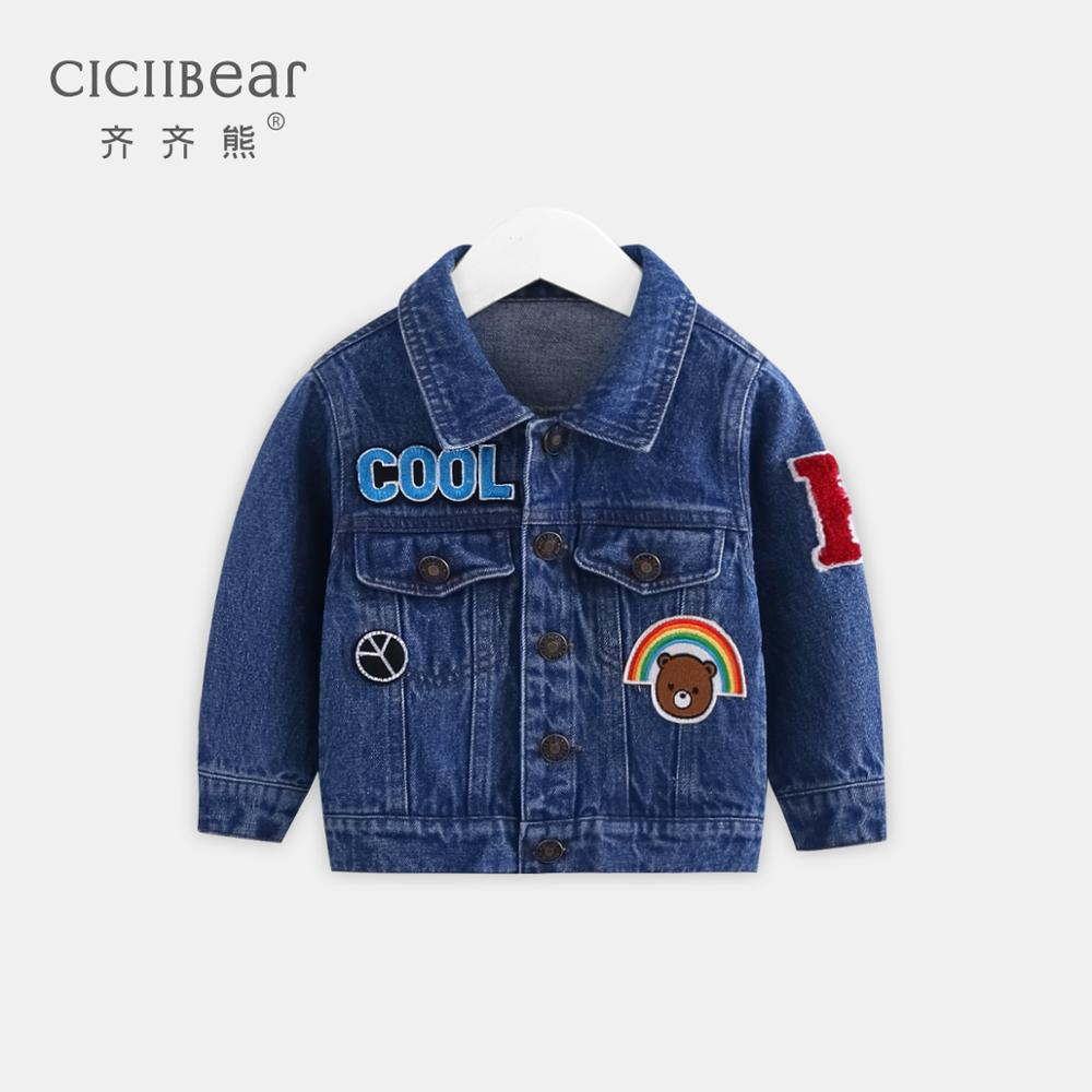 ciciibear boy girl spring  lapel denim jacket clothes infant baby cartoon pattern out jacket